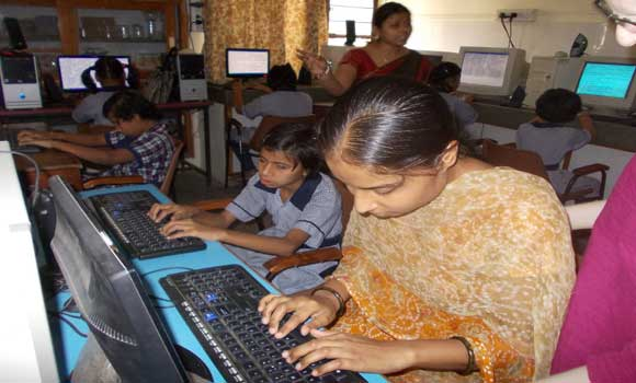 learning computer basics in computer lab...