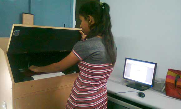 students using braille printer...